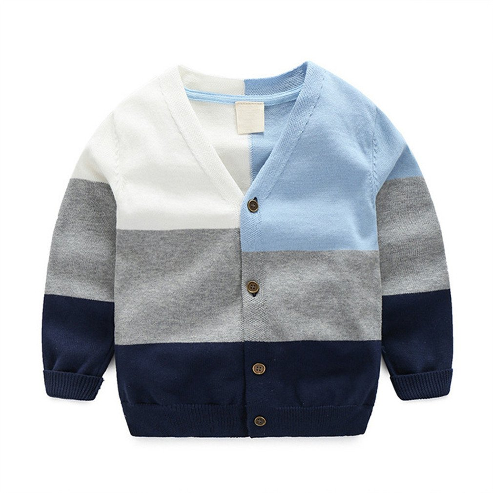Winyersnow Autumn Boys Cardigan Casual Children Sweater for Girls Long Sleeve O-Neck Blue 5T