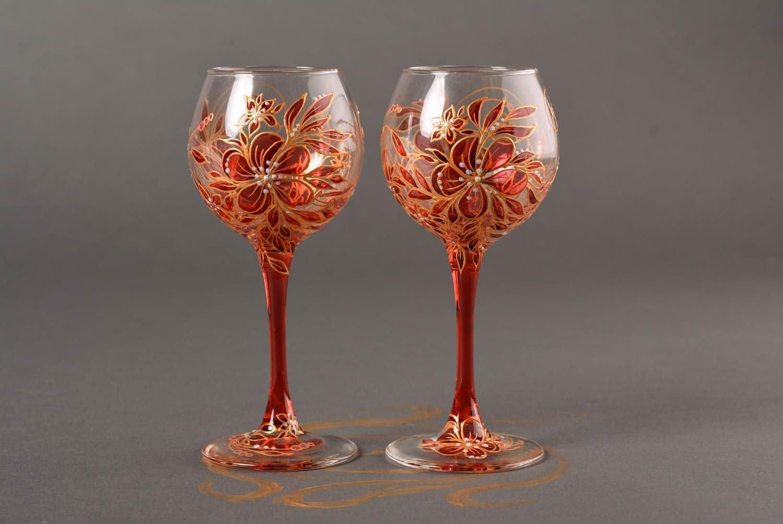 Unusual Handmade Wine Glass 2 Pieces Glass Ware Stemware Ideas Handmade Gifts Amazon Co Uk Kitchen Home