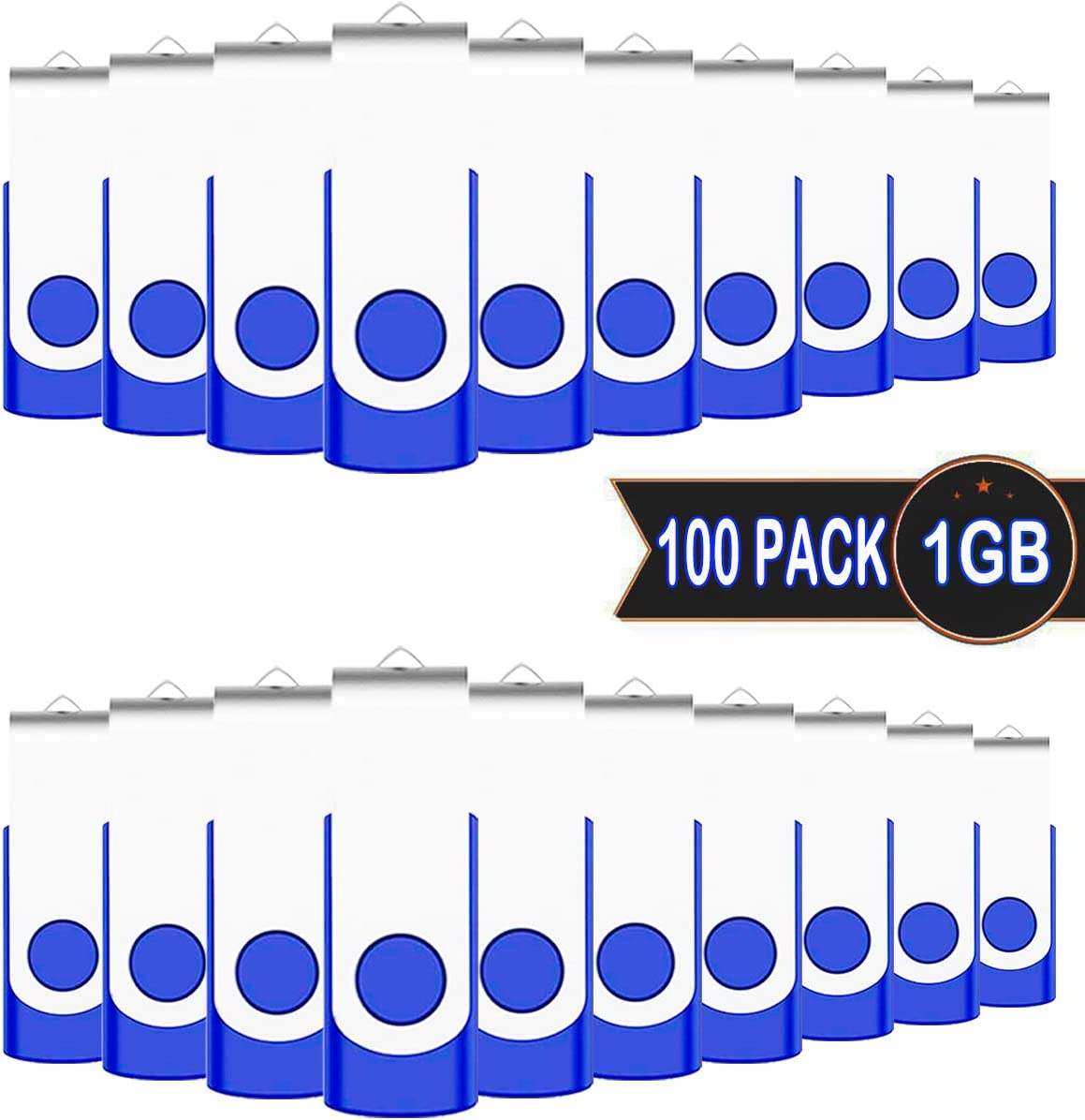 EASTBULL USB 2.0 Swivel Bulk Flash Drives USB Stick Gig Stick Metal Thumb Fold Storage USB 512MB Flash Drives 20 Pack Blue