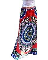 XTX Women's Floor Length Below the Knee Big Hem Print Skirt