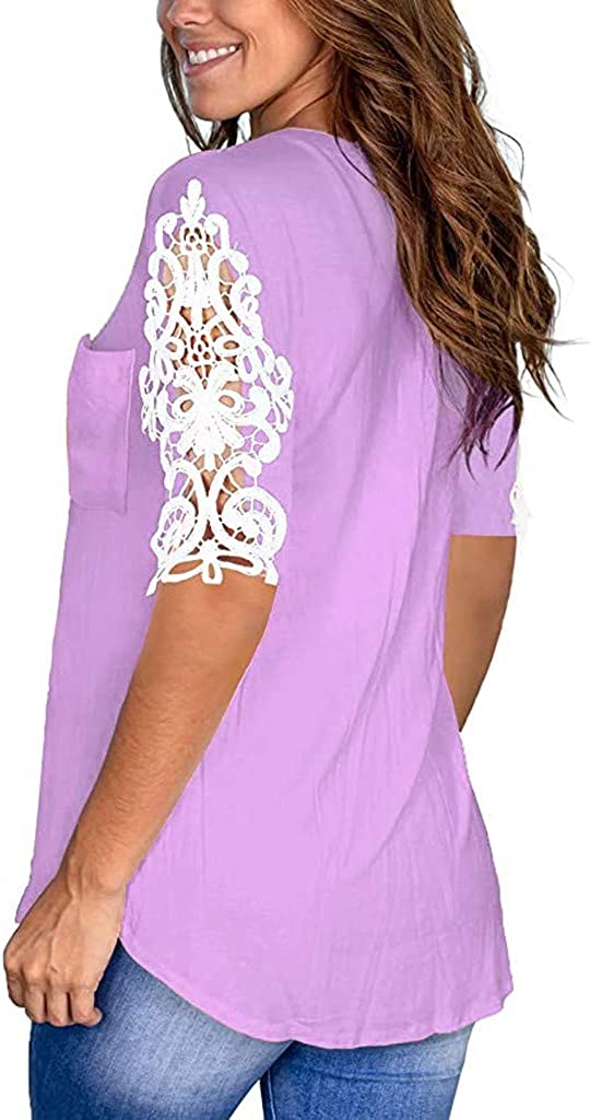Womens Lace Tops Summer V Neck Short Sleeve Shirts Casual Loose Blouse Tunic with Pocket