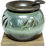 茶香炉 : 常滑焼 山房窯 ロウソクタイプ茶香炉(杉板・ロウソク1ヶ付)・エ37-10