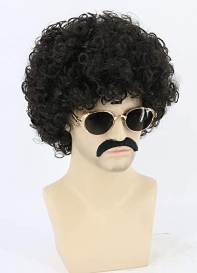 Topcosplay Men and Women Afro Wigs Disco Hippie Wig Short Halloween Costume Wigs Dark Brown