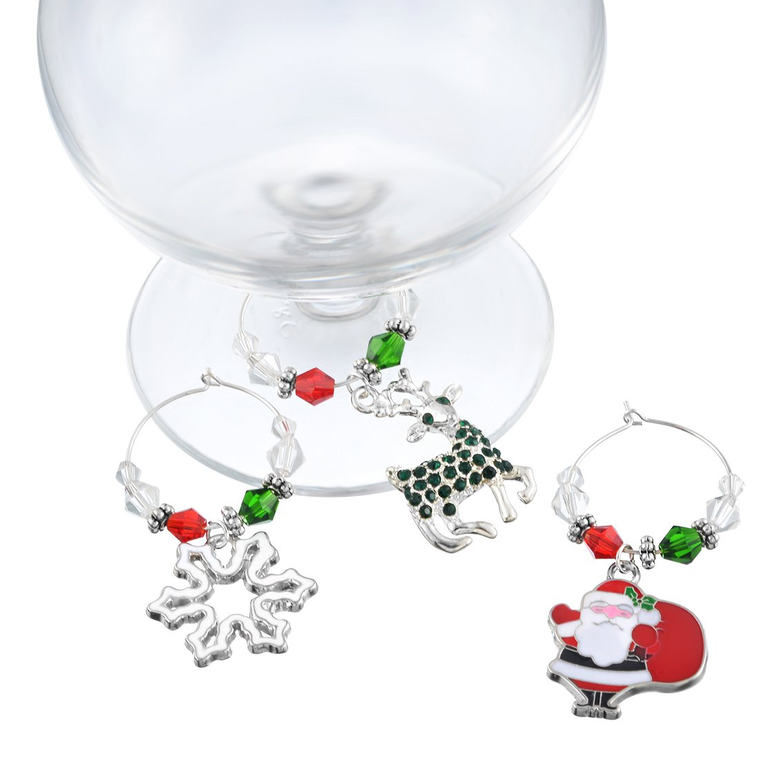 Souarts Mixed 6pcs Glass Charms Marker Tags Set with Gift Box Christmas Father Elk Snowflake Gift Bell Pendants by Souarts (Image #2)