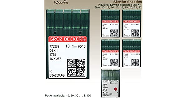 GROZ-BECKERT Agujas para máquina de coser industriales estándar nm 90/10, 12, 14, 16, 18, 20 y 22 Nm-90/14: Amazon.es: Hogar