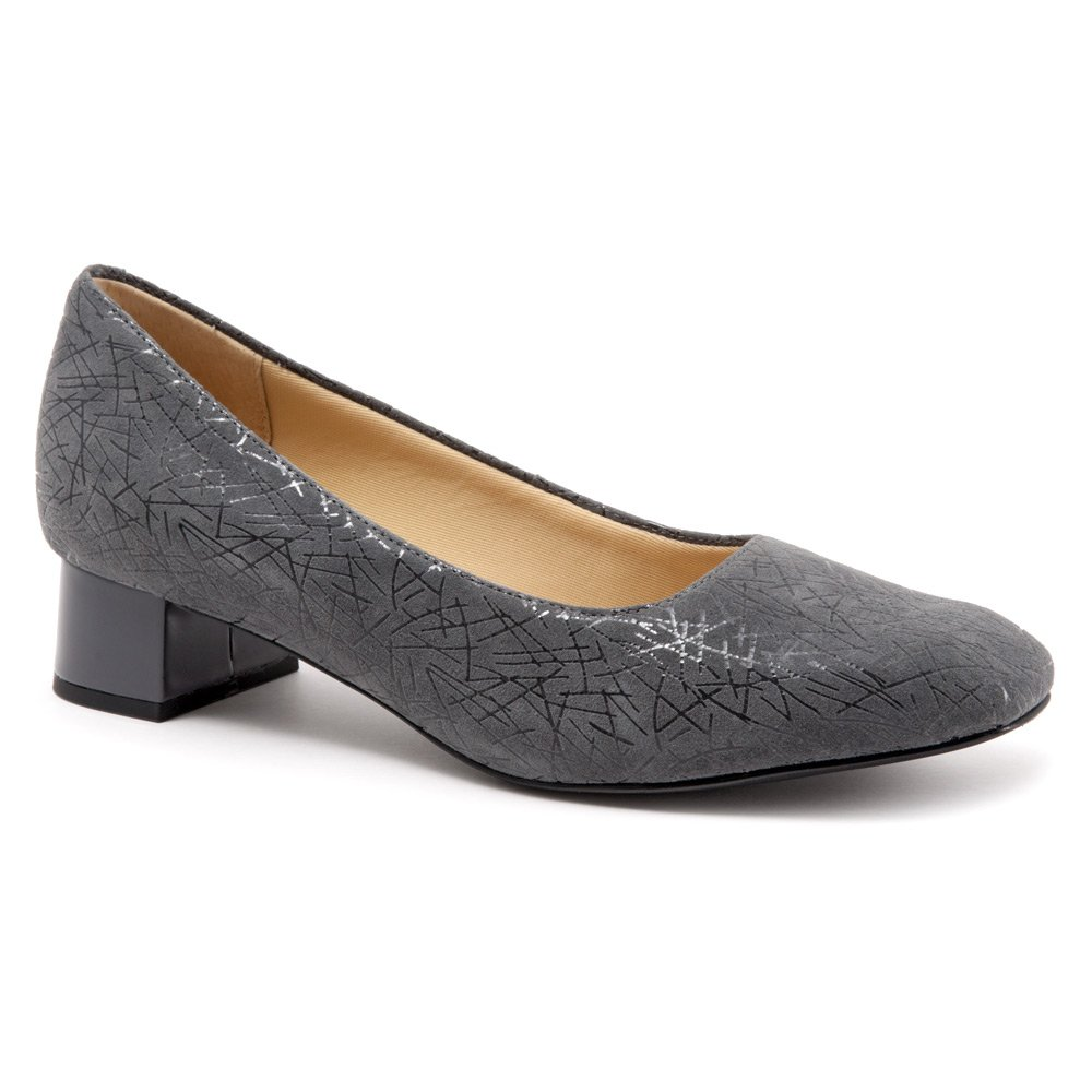 Trotters Women's Lola Dress Pump B019QT4S58 7.5 XW US|Dark Grey Graphic Embossed Leather