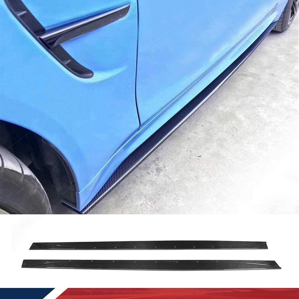 JC SPORTLINE Carbon Fiber Side Skirts fits for BMW F80 M3 F82 F83 M4 2-Door 4-Door 2014-2019 Rocker Panels Side Trim Spoiler Side Skirt Extensions Body Kits Factory Outlet