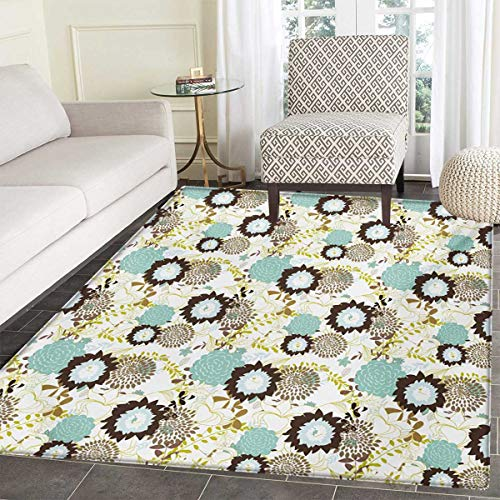Vintage Door Mats Home Abstract Pattern Old Fashioned Exotic Flowers Retro Revival Blossoms Bath Mat Bathroom Mat Non Slip 36