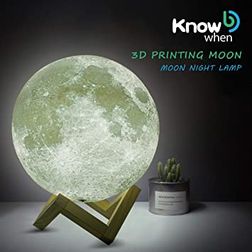 ... Moon Light Night Light, Home Decorative Rechargeable Lunar Night with Wooden Stand, Remote & Touch Control, Best Gift for Baby Kids: Kitchen & Dining