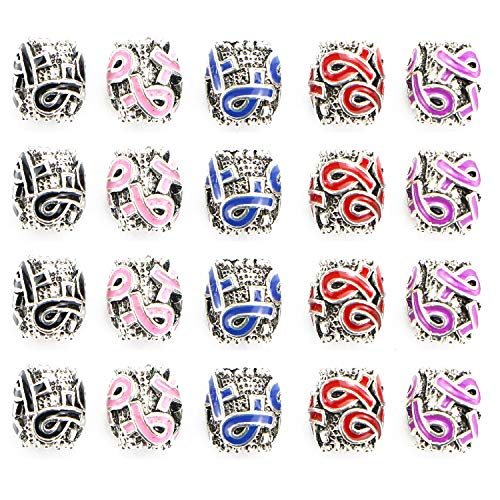 Awareness Pink Charm Ribbon (Monrocco 50Pcs 5Colors Breast Cancer Awareness Ribbon Charms Beads Dangle Pendant Accessories for Jewelry Making)