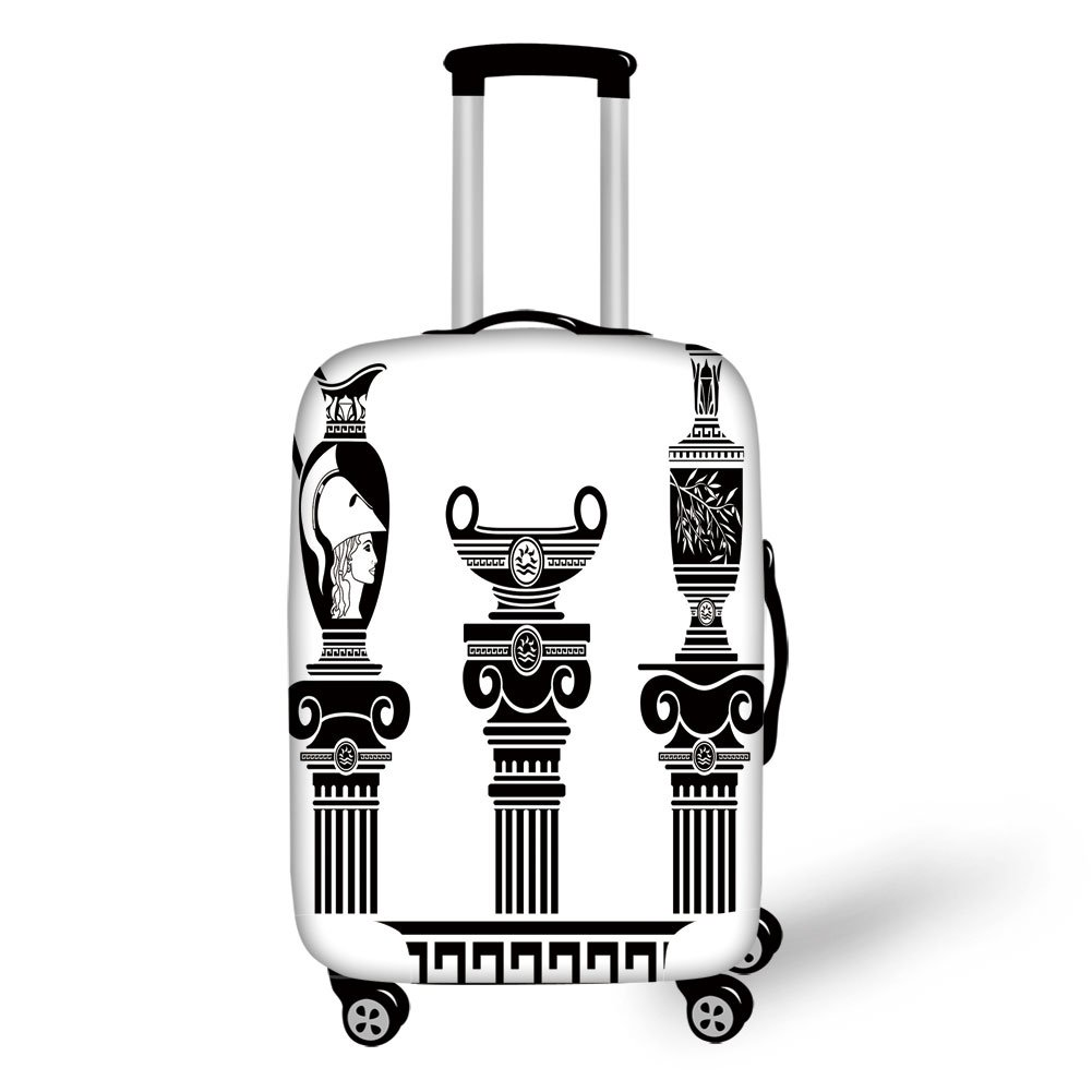 Travel Luggage Cover Suitcase Protector,Toga Party,Set of Hellenic Vases and Ionic Columns Artistic Design Amphora Antiquity,Black and White,for Travel