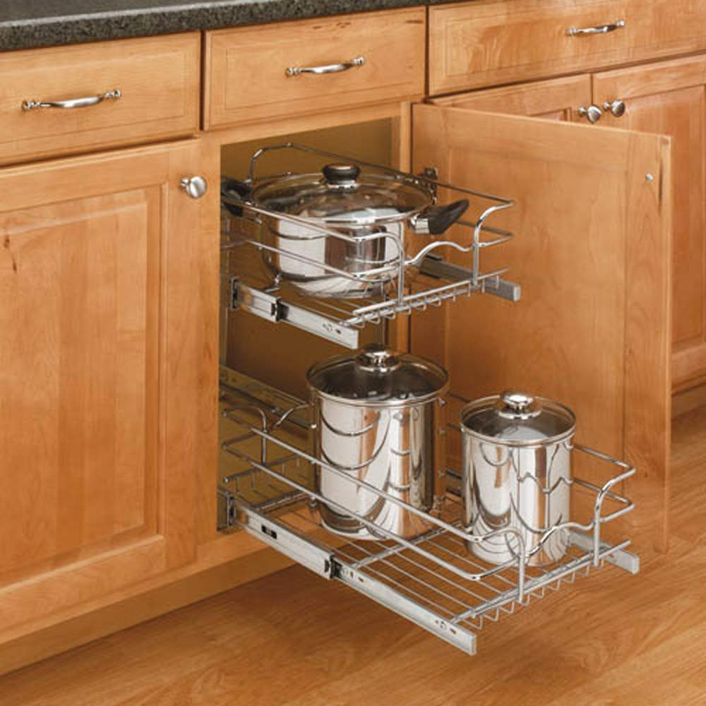 Rev-A-Shelf 12'' Wide 18'' Deep Base Kitchen Cabinet 2 Tier Pull Out Wire Basket by Rev-A-Shelf
