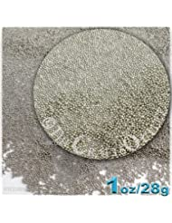 The Crafts Outlet 1-oz/28-g Metallic Finish, Glass, Microbeads 0.6mm, Ideal for Caviar Nails, Metallic Bright Silver