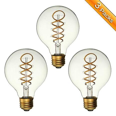 Bombillas LED Vintage,Elfeland E27 3W Bombillas Edison Retro LED Bombilla Decorativa Espiral Flexible Filamento