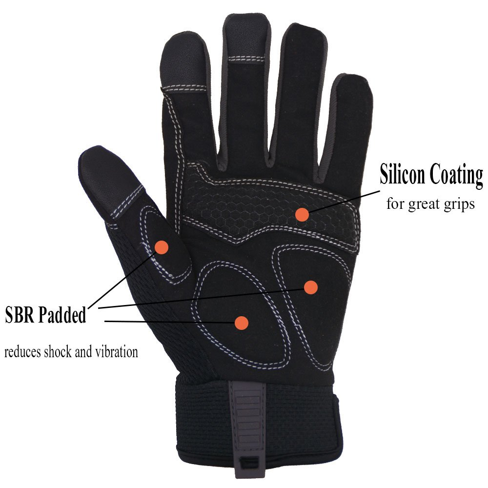 Handlandy Flex Grip Work Gloves Mens, Anti Vibration Impact Gloves- SBR Padded Palm, Improved Dexterity, Stretchable, Extra Large by HANDLANDY (Image #4)