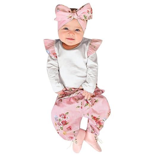 3c7b23e6509c Amazon.com  Lurryly 3Pcs Newborn Baby Long Sleeve Romper Jumpsuit+Floral  Pants Clothes Outfit 0-2T  Clothing