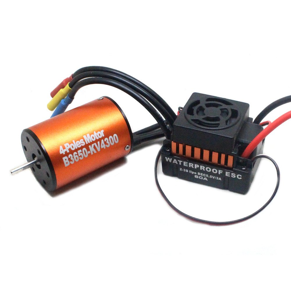 for 1/10 RC Car W9M5 Waterproof 3650 4300KV 4 Pole 12 Slot High-Torque Brushless Motor W/ 60A ESC Combo Set - Shipped from USA (A)