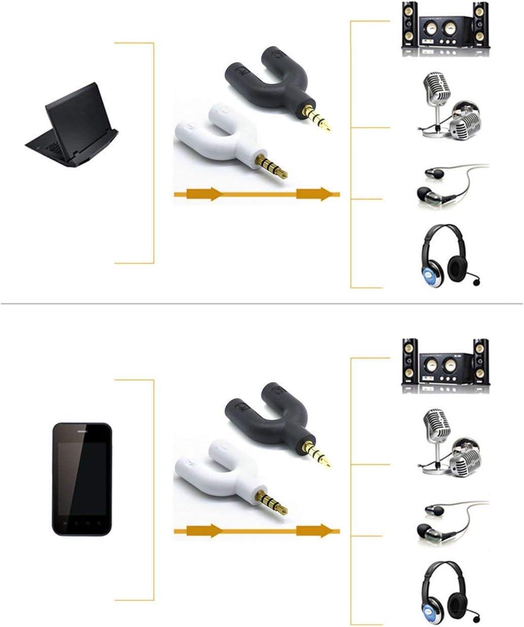 Ba30DEllylelly Divisor de micr/ófono para Auriculares Divisor de Audio de 3,5 mm Conector en U para micr/ófono de Auriculares Adaptador convertidor Divisor en U de 2 v/ías