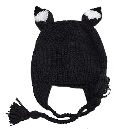 2aae90db09d4d Amazon.com: BIBITIME Knitted Fox Hat Earflap Braids Beanie Cartoon ...