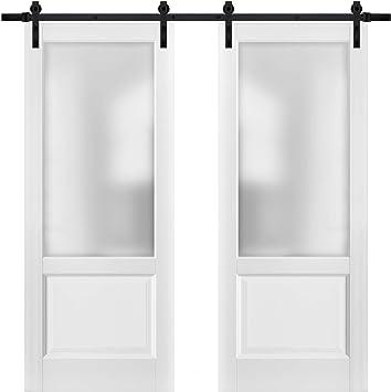 Puertas correderas de granero doble con herrajes | Lucia 22 blanco ...