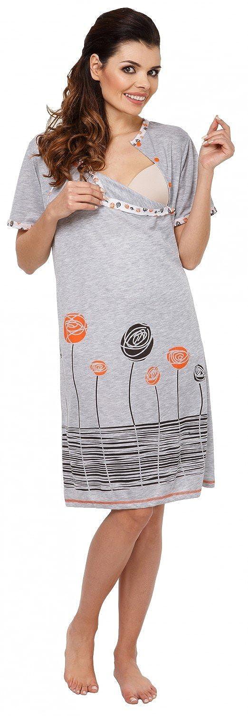 135c Damen Umstands Still-Nachthemd Cartoon-Applikation Blumen Zeta Ville