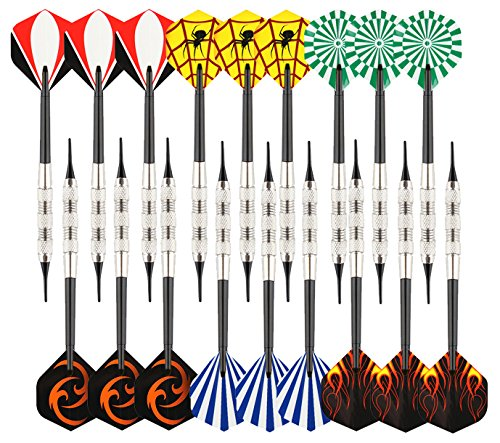 Viare 18 Pcs 6 Styles Soft Tip Darts with Soft Tip Points for Electronic Dartboard,17 ()