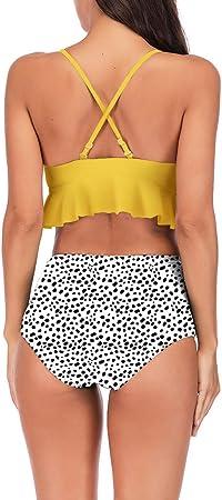Berimaterry Verano 2019 Ropa Traje De BañO Bikini Mujer Sexy Push Up Bañador Banda Cintura Alta 2 Piezas Impresas Tops Braga Bikini Set Trajes De BañO BañAdores Encaje de Loto Estampado Halter
