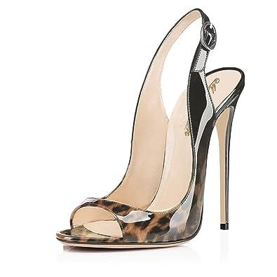SHOWHOW Damen Spitz Zehe High Heels Slingback Sandalen mit Abstaz Schwarz 42 EU OG1ar