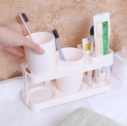 Daeou Conjunto porta cepillo de dientes cepillo de dientes baño taza de bastidor del cilindro