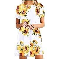 VEMOW Vestido Mujer Mujeres Verano Manga Corta Floral Bolsillos Impresos Vestido de oscilación Ocasional de Sundress