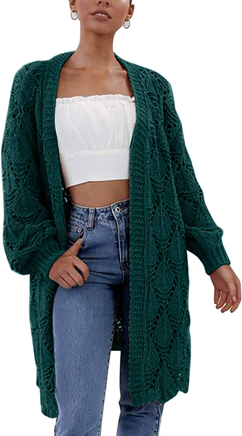 ioiom Womens Snap Button Down Open Front Long Knited Cardigan Outerwear with Pocket