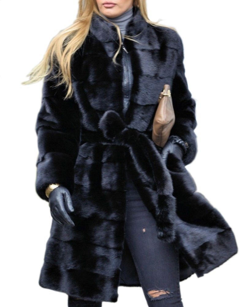 Aofur Womens Faux Fur Coat Parka Jacket Long Trench Winter Warm Tops Outerwear Overcoat Black Size S-XXXL (X-Large, Black)