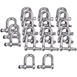 CNBTR M4 Silver 304 Stainless Steel European Style Chain D-Ring Shackle Hardware Rigging Set of 20