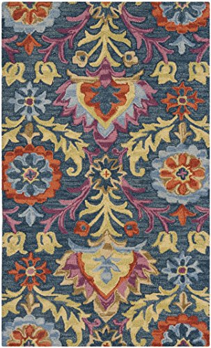 Safavieh Suzani Collection SZN312A Hand-Hooked Blue and Multi Wool Area Rug (3' x 5') 3' Hand Hooked Wool Rug