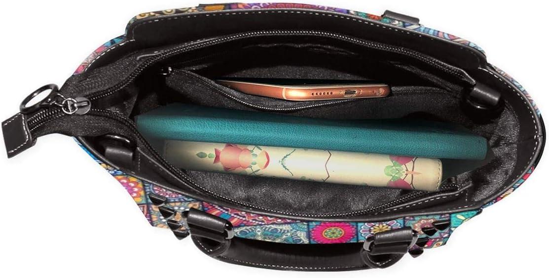 GHUJAOOHIJIO Ideal Mothers Gift-Mandala Bright Womens Rivet PU Leather Tote Bag Shoulder Bag Purse