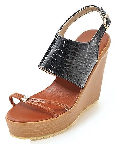 3ce4bac5a8a IDIFU Women s Sexy High Heels Wedge Platform Open Toe Slingback Sandals  (Black