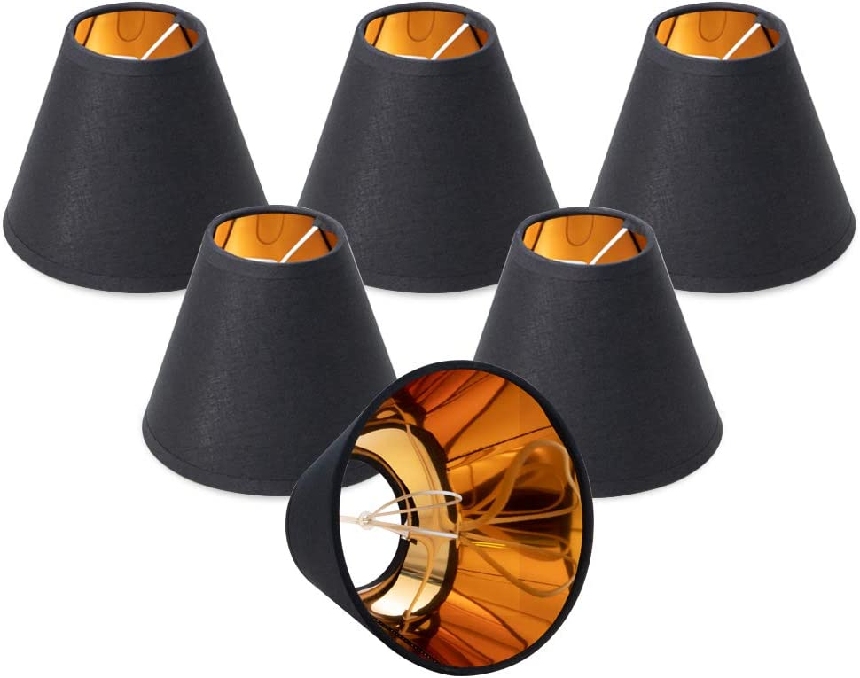 """Wellmet Chandelier Lamp Shades,Retro Small Lamp Shade,Clip On Fitter ONLY for Candle Bulbs,Empire Vintage Black Mini Wall Table Lamp Shade,3"""" X 6"""" X 5"""", Set of 6"""