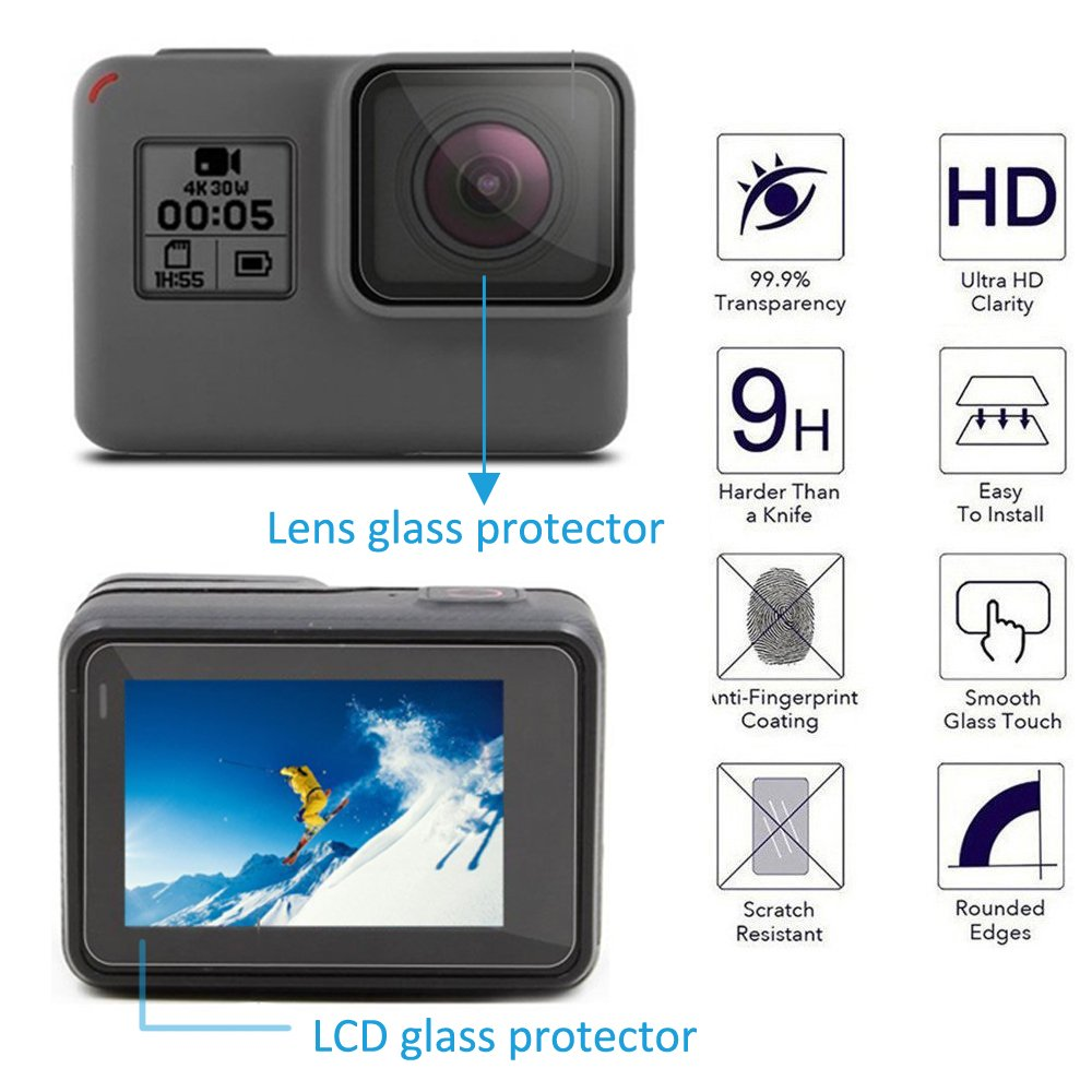 MyArmor 2x LCD & Lens Tempered Glass Screen Protector Skin Film + 2x Lens Silicone Protective Cap Cover with Cleaning Kits for Gopro Hero 5 (Not Suitable for Other Gopro Medels)