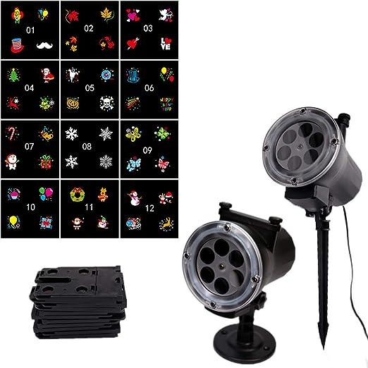 Proyector LED de luz, 12 modos giratorio proyector foco ...