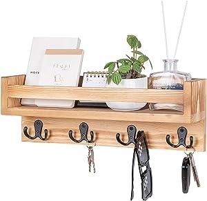 Z&L HOUSE Key Rack Floating Wall Mount Shelf Entryway Decor,4 Double Key Hooks Wood Envelope Holder for Coat Racks(Brown)