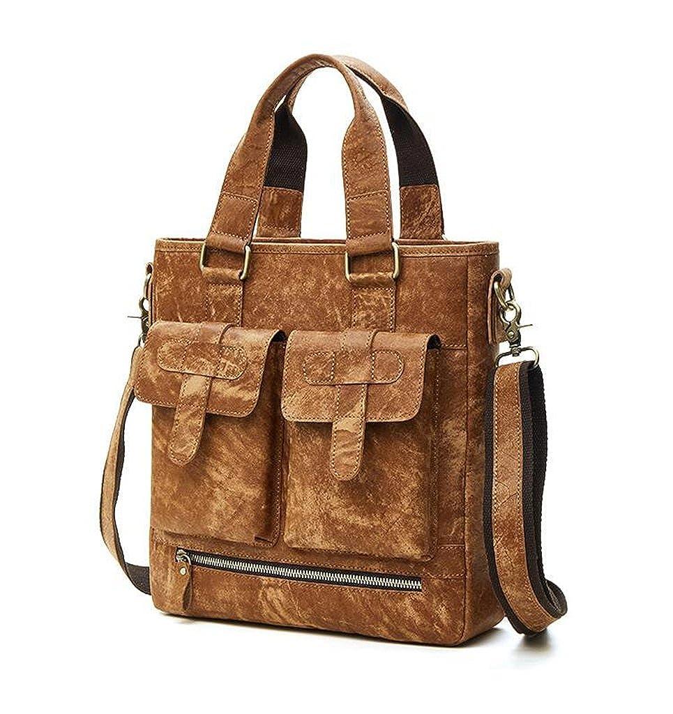 Leather Man Bag Mens Messenger Shoulder Bag Mobile Phone Belt Pouch with Top Handle 29x8x31cm,#1