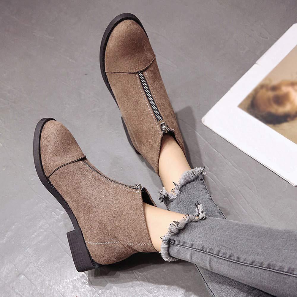 Amazon.com | JaHGDU Women Square Heel Shoes Martain Boots Suede Zipper Solid Color Round Toe Fashion Leisure Elegant Cosy Wild Tight Super Quality for ...