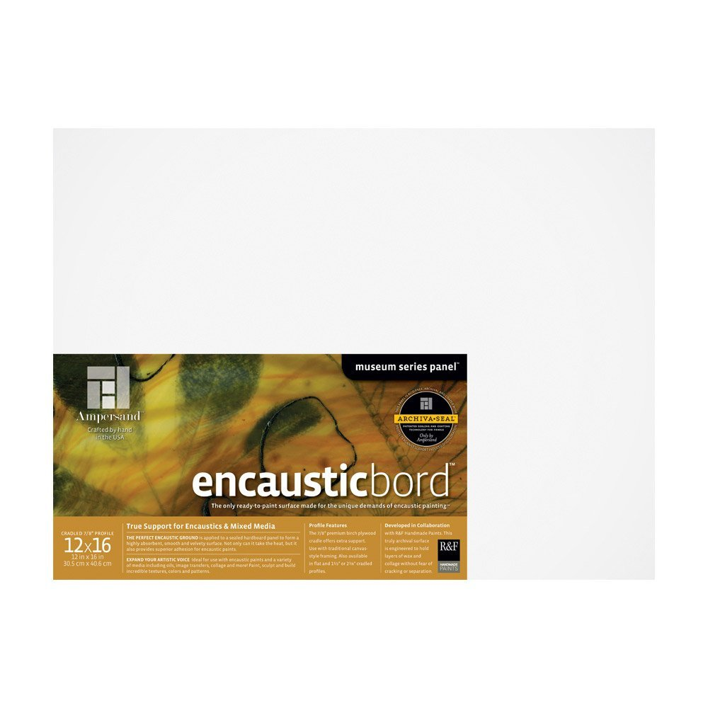 Ampersand Encausticbord Hardboard Panel for Encaustics and Mixed Media, 7/8 inch Depth Cradle, 12X16 inch (ENC751216) by Ampersand