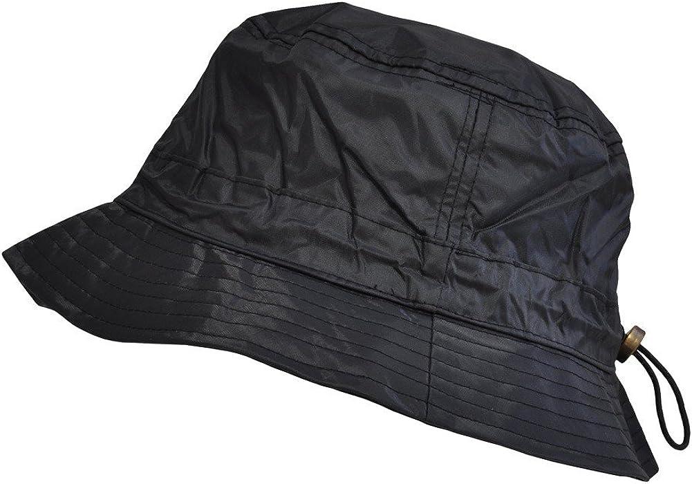 TOUTACOO,Adjustable Bucket Rain Hat in Nylon .Black02: Clothing