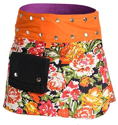 Ufash Mini Jupe Portefeuille t pour Femme, rversible, Taille rglable avec sa Ceinture Bouton Pression - Plusieurs Designs diffrents Motif 11