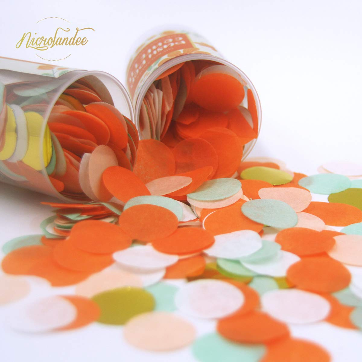 NICROLANDEE Birthday Party Confetti Poppers Foil Dots Tissue Paper Confetti Push Pop Containers Coral Sprinkle Confetti for Wedding Bridal Shower Bridesmaid Party Baby Shower Decorations 4 Pcs by NICROLANDEE (Image #5)
