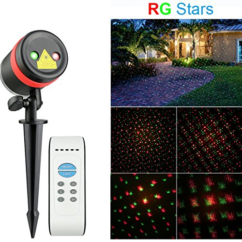 Waterproof Outdoor LED Red & Green Star Laser Lights Show...