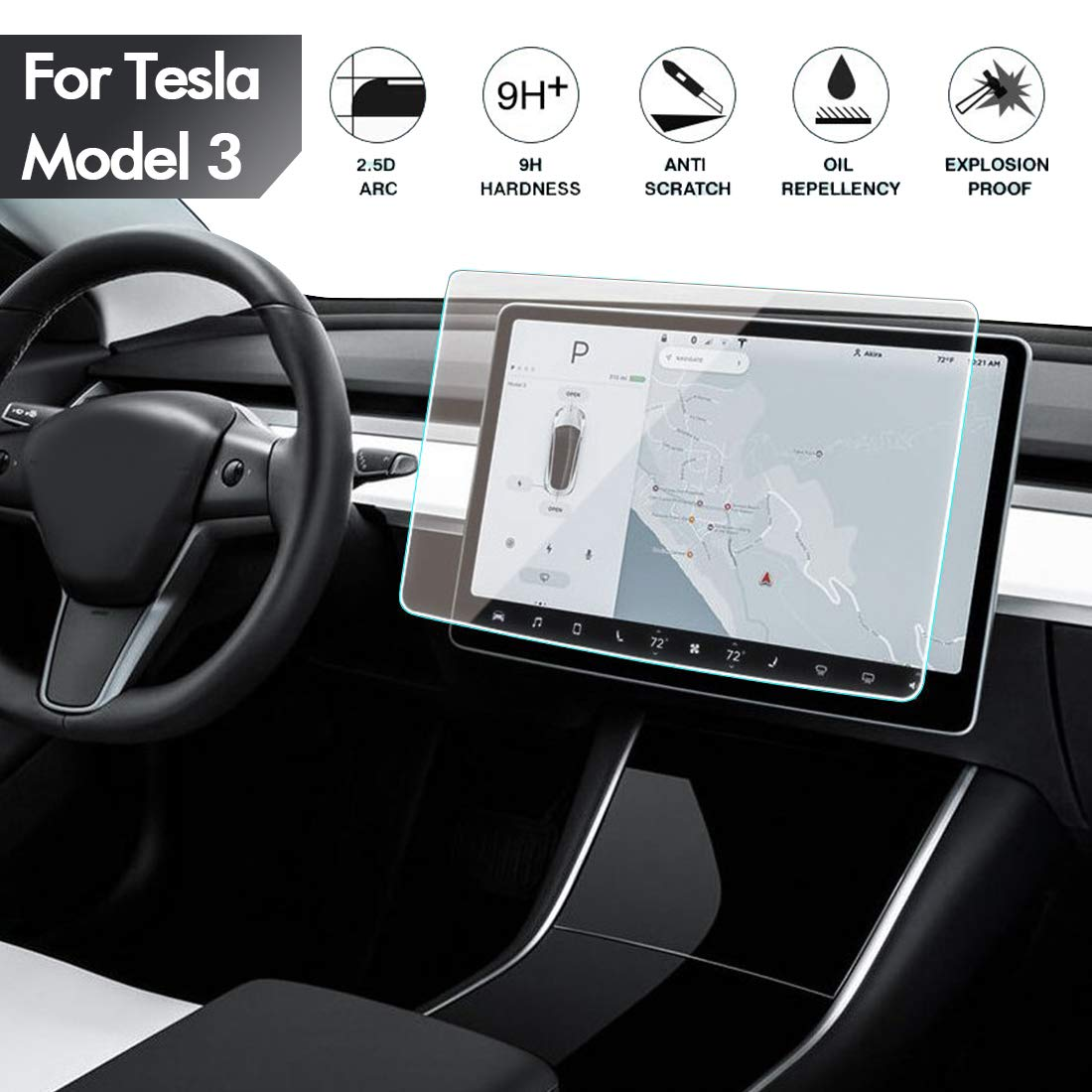 Center Control Touch Screen Car Navigation Tempered Glass Screen Protector, 9H Anti-Scratch and Shock Resistant for Tesla Model 3 Screen Cover P50 P65 P80 P80D 15