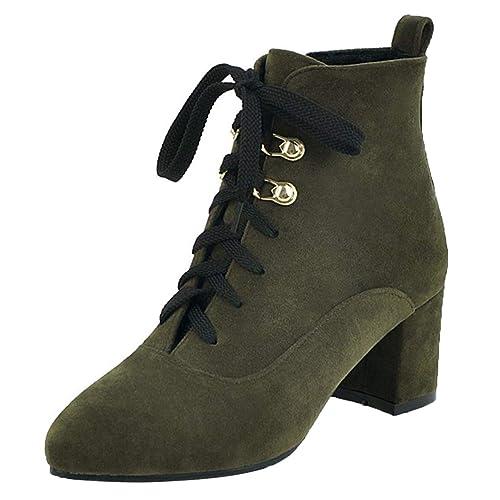AIYOUMEI Damen Schnürstiefeletten Blockabsatz Ankle Stiefel Stiefel Ankle zum 87c7c8