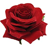 Zelin Fashion Red Fabric Rose Flower Hair Clip For Women ( Pack Of 2 )
